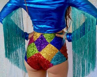 Rainbow sequin harlequin high waisted hotpants - fairylove
