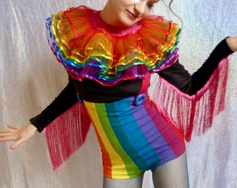 Shortie rainbow striped under bust playsuit dungarees - fairylove
