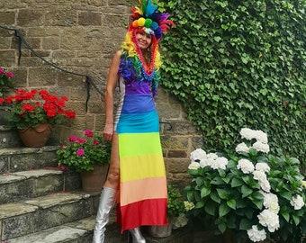 Rainbow lycra full length slip dress - fairylove