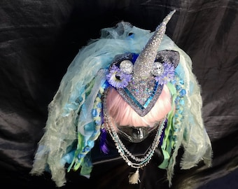 Unicorn horn fascinator headdress with organza mane  - Fairylove