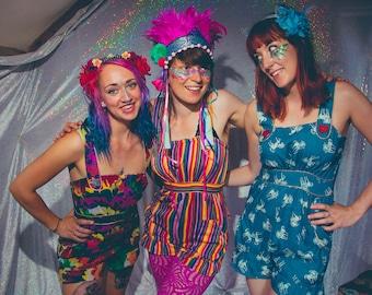 Fairy romper / playsuit / jumpsuit - unicorn/stripes/rainbow - fairylove