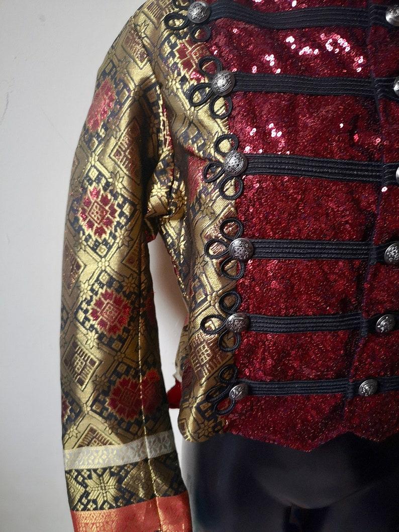 orange UNISEX brocade and sequin captains military jacket fairylove