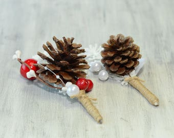 Wedding Boutonniere White Red Brown Rustic Groom Groomsmen Pine Cone  Boutonniere Custom Fall Winter Boutonniere Groom Lapel Pin Christmas