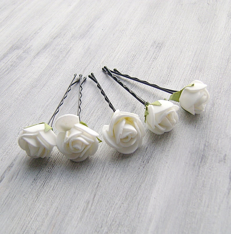 Rose Bridal Hair Pins Wedding Hair Accessory White  Flower Bobby Pins Flower Girl headpiece  set of 5 Flower Clips Bridal Hair Clip