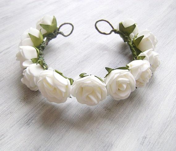 Flower Girl Hair White Wreath Flower Crown For Hair Bun Etsy