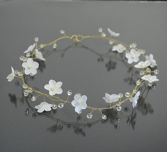 Bridal white flower tiara flower crown bridal hair etsy image 0 mightylinksfo