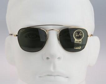 90's small aviator sunglasses. Original NOS square metal | Etsy
