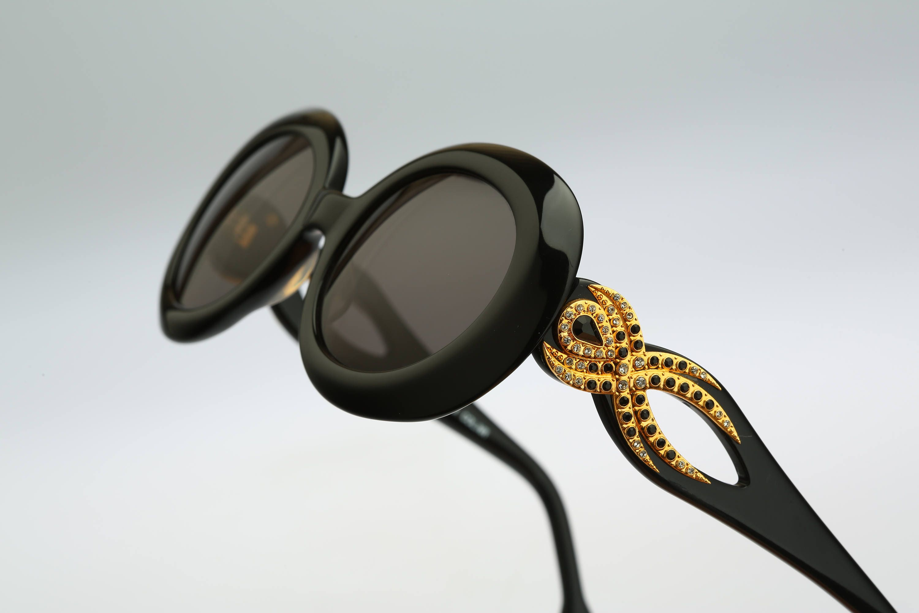 Rhinestone sunglasses Galitzine G13 Vintage 90s unique gold