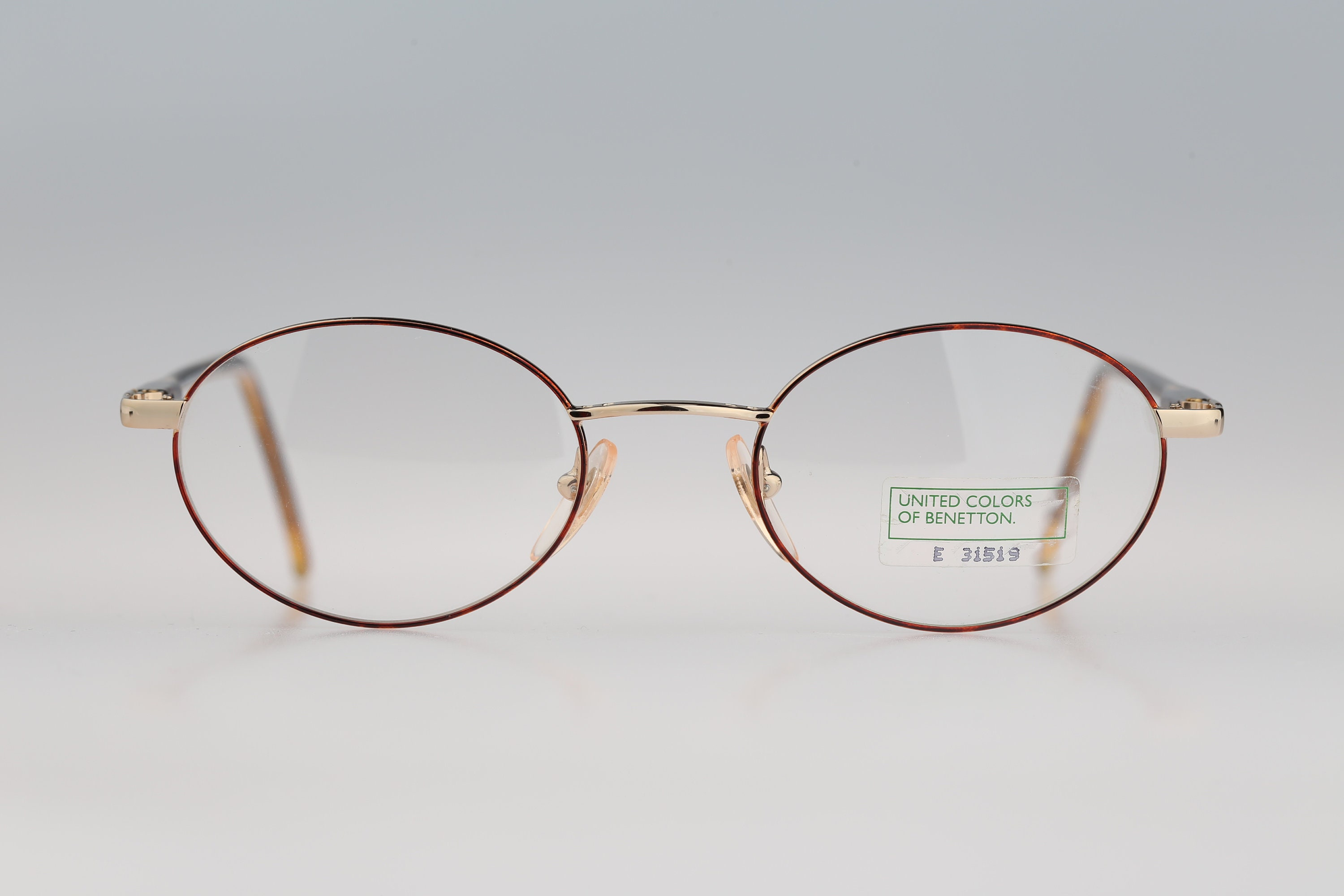 Benetton UCB A94 13M Vintage 90s gold and tortoise small oval