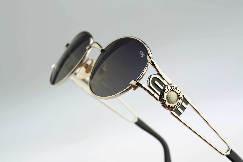 Silver oval sunglasses men Le Club 1500 52 SISI Vintage 90s