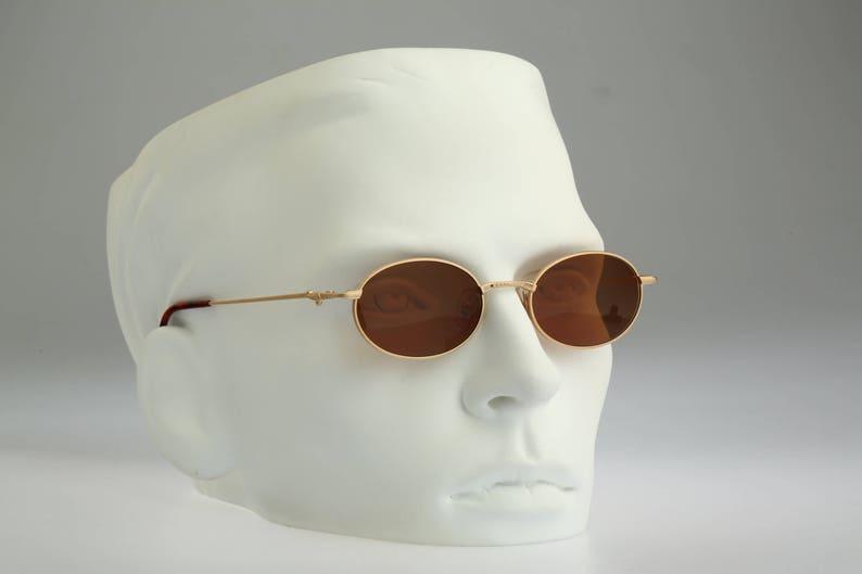 Vintage 90s unique steampunk gold small oval sunglasses men /& women NOS Joy 3604