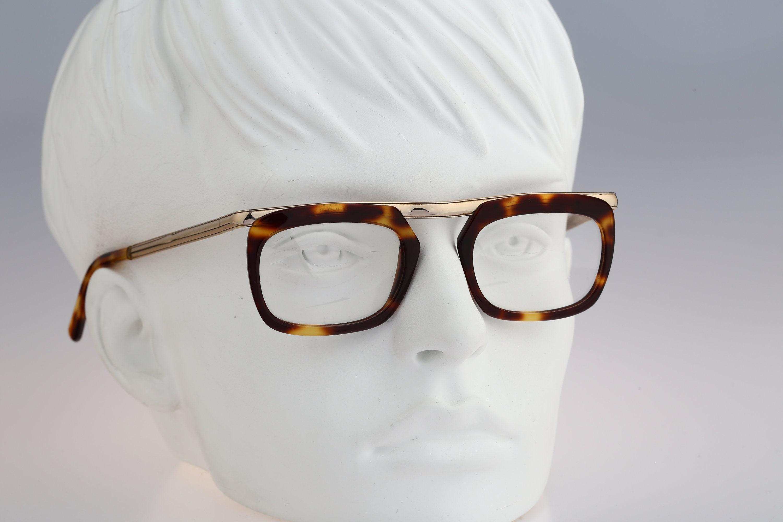 Vanni Brera Vintage 90s gold and tortoise square eyeglasses