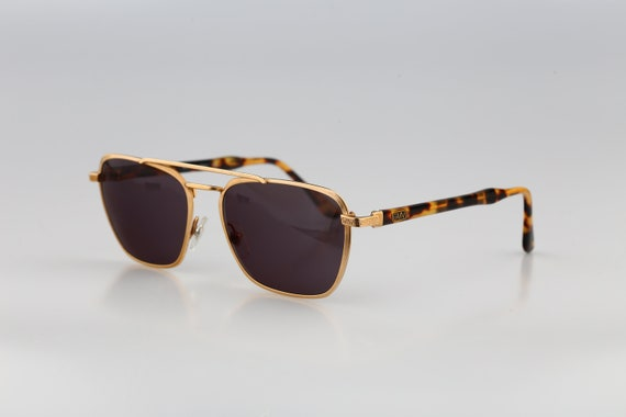 Gian Marco Venturi 710 Vintage 80s gold square aviator sunglasses men /& women NOS