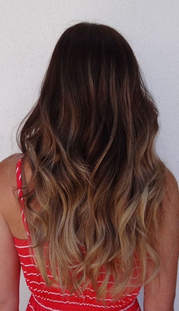 Dark Ash Brown Balayage Hair Extensions Ash Brown Ash Blonde Etsy