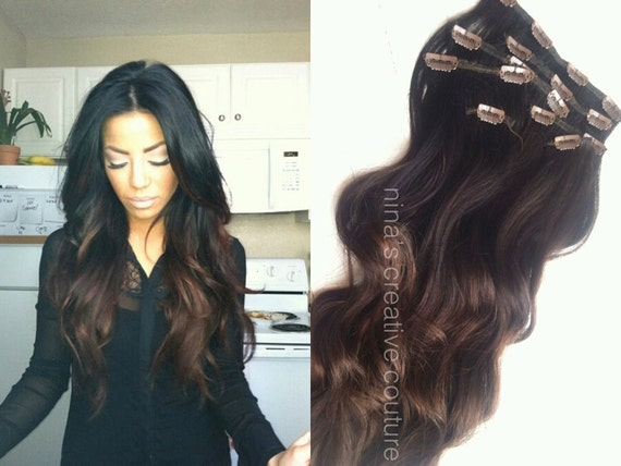 Chocolate And Dark Brown Ombre Hair Extensions Indian Summer Etsy