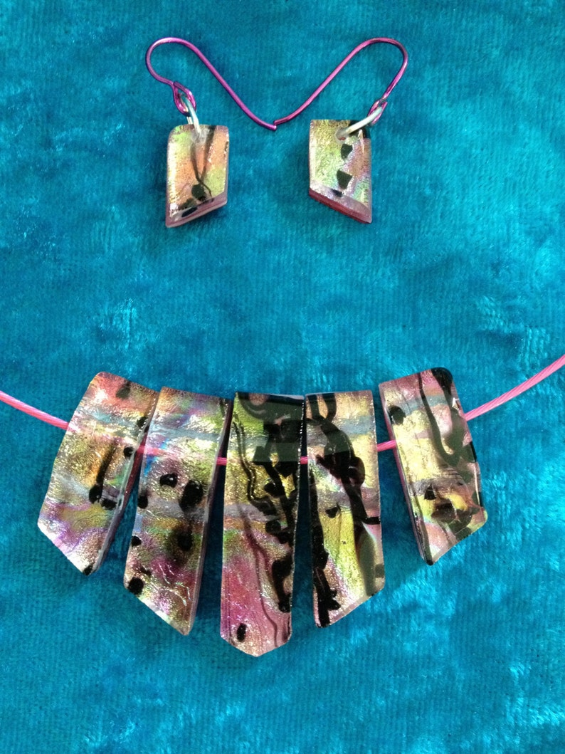 Multi-piece Fused Dichroic Glass Necklace and Earrings