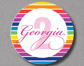 """Custom Printable 2.25"""" Rainbow Goody Bag Tags / Cupcake Toppers"""