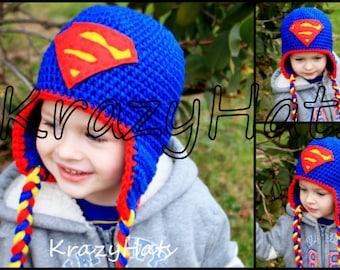 af8a4f56849 Crochet Superman hat. Handmade hat.