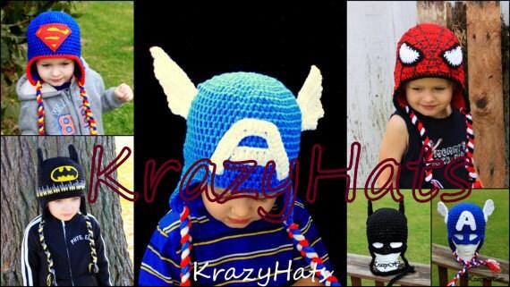 Crochet SuperHero hats. Batman Spiderman SuperMan Captain  2e3ff22e03f