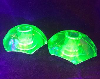 Uranium Glass Umbrella Candlesticks