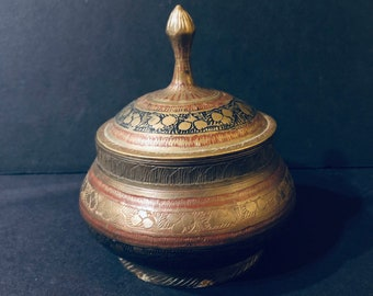 Brass Etched and Enameled Indian Lidded jar