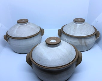 Trio of Pottery Bowls with Lids