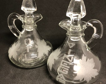 Etched Glass Oil & Vinegar Crets