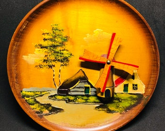 Vintage Wooden Dutch Windmill Plate