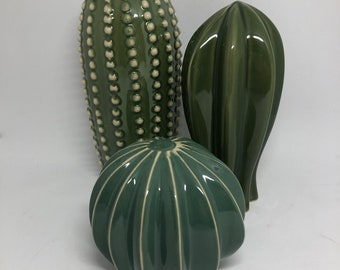 Trio of Ceramic Cacti