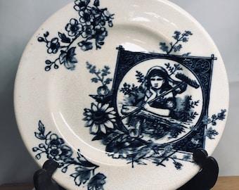 Set of 4 Blue Girl Gardiner Transferware plates