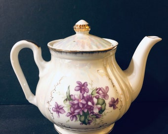 Lovely Lusterware Tea Pot with Violets