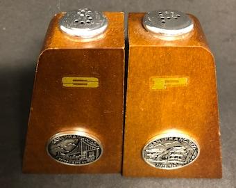 Mid-Century Modern Golden Gate Bridge Wood Salt and Pepper Shakers