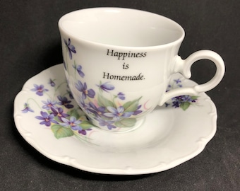 MZ violets tea cup and saucer Moritz Zdekauer