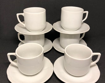 6 White Demitasse Cups