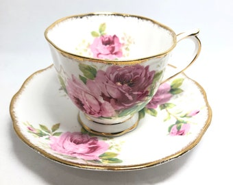 Royal Albert American beauty cabbage rose tea cup and saucer