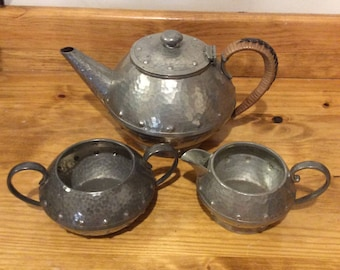 Vintage homeland hammered pewter tea set