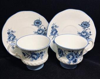 Pair Royal Crest Blue Rose Tea Cup and Saucer