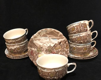 Set of 6 Olde English Countryside by Johnson Brothers, China Cup & Saucer, Ironstone