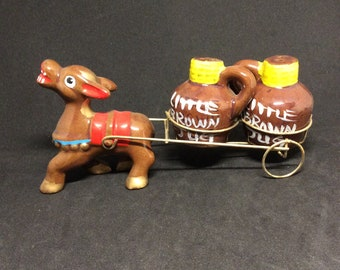 Donkey pulling Little Brown Jugs Salt and Pepper