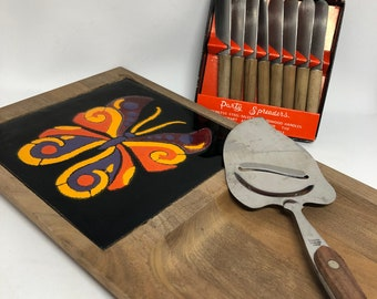 Mid Century Butterfly Cheese Board and Party Set