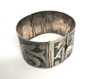 Taxco Mexico Sterling and Turquoise Cuff Bracelet