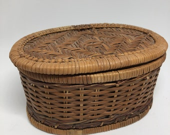 Lidded Oval Straw Basket