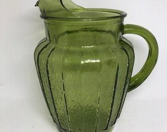Vintage Green Glass Ice tea Pitcher