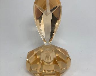 Amber Cut Crystal Parfume Bottle