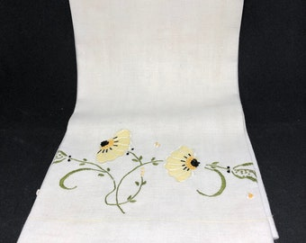 Large embroidered tea towel