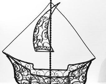 Vintage Wrought Iron Sailboat Sculpture  shelf Or mantel decor