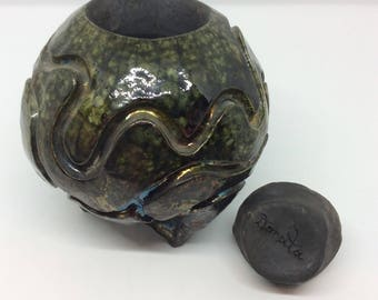 Signed pottery jar by Donata Marino