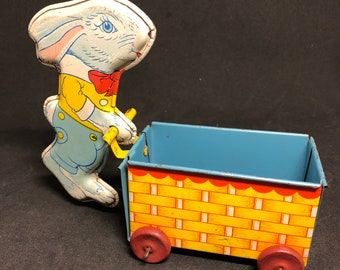 J. Chein & Co Tin Bunny with Cart