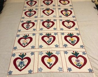 Vintage Single Bed Appliqué bed cover or table cover