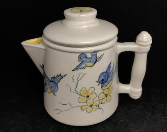 Small 2 cup coffee pot with hand painted birds